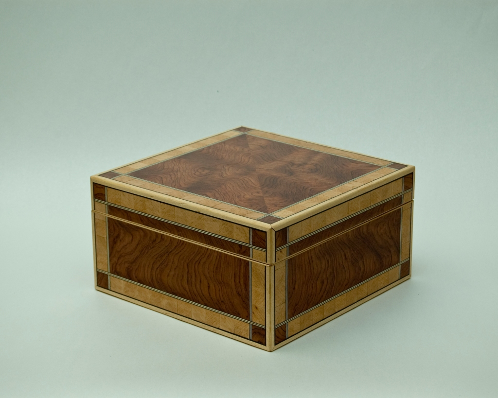Adam's box crafted from bubinga and beech veneer with maple trim