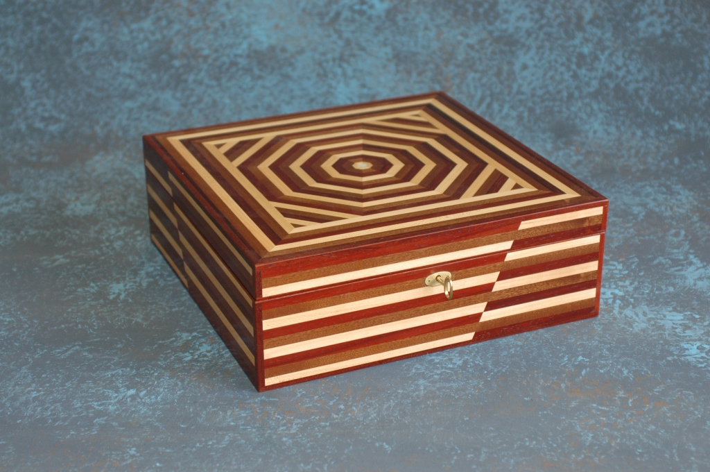 Annie box made from maple, mahogany and padouk