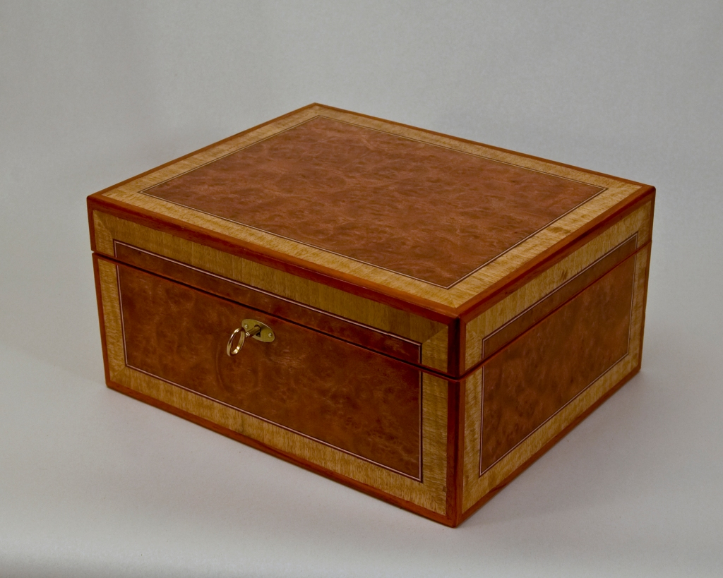 Butterfly box with Carpathian Elm Burl, Birch and Cherry Veneer, Marquetry Lacewood Butterfly, Padouk Trim