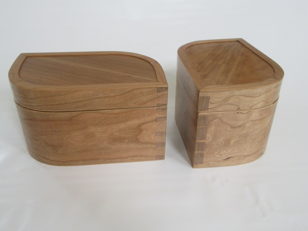 Pair of curved cherry boxes