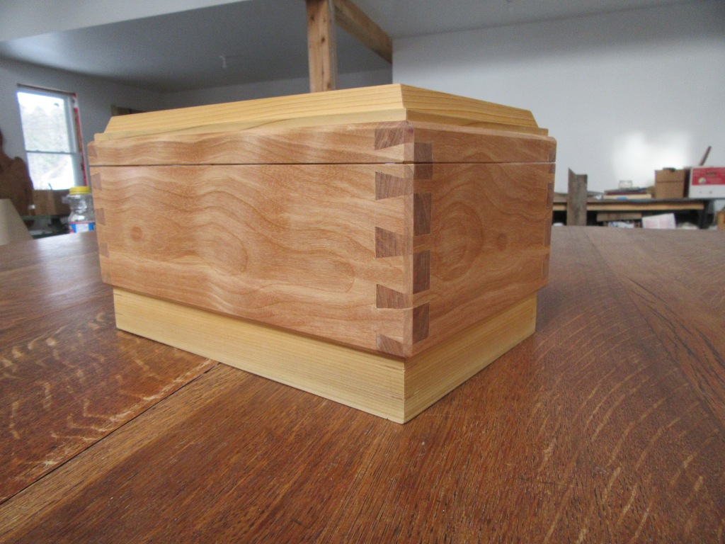 Handcrafted dovetail detailing on cedar and birch keepsake box
