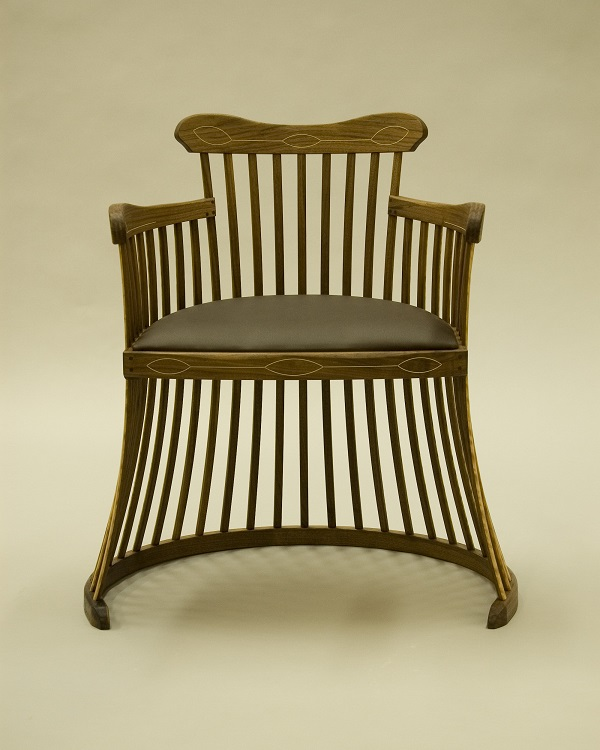 Lobster trap chair in black walnut with tan leather seat