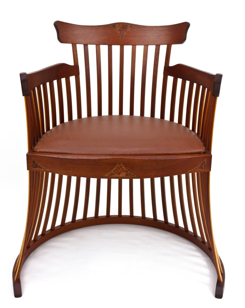 Lobster trap chair in sapele