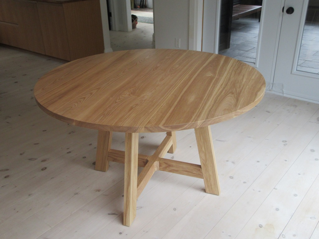Table top of round kitchen table, ash