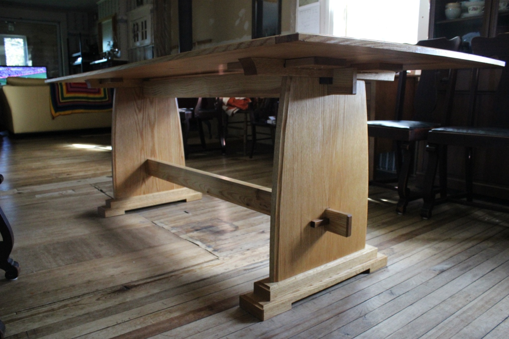 View of underside detailing of trestle table