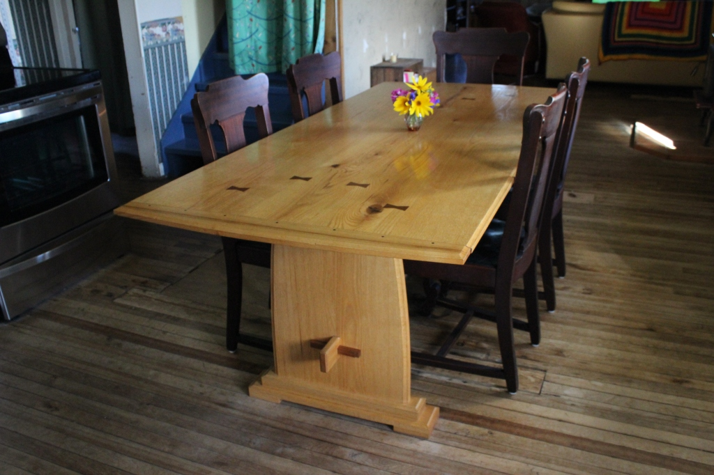 Red oak trestle table