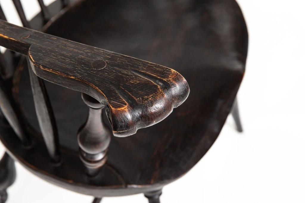 Armrest detailing on handcrafted Windsor chair